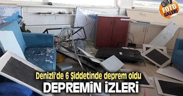 Denizli'de 6 Şiddetindeki Depremin İzleri