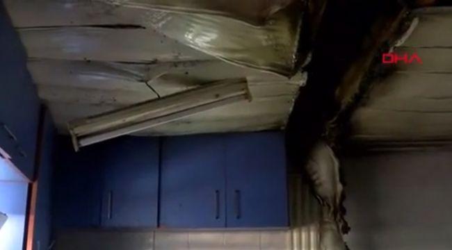 Evin mutfağına yıldırım düştü