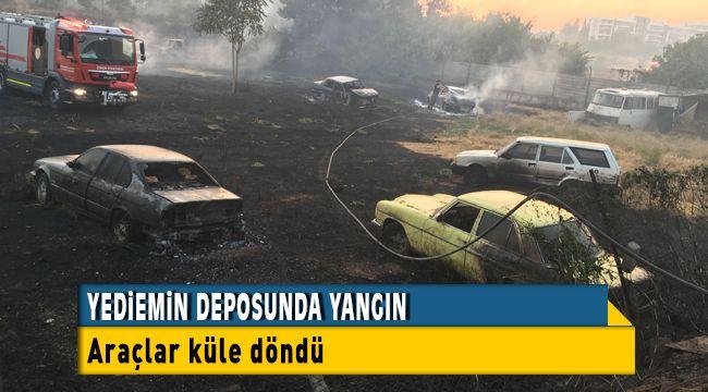 Bornova Yediemin Deposunda Çıkan Yangında Araçlar Kullanılamaz Hale geldi