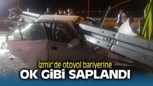 İzmir Otoyolunda bariyerlere saplanan araç 3 kişiye mezar oldu