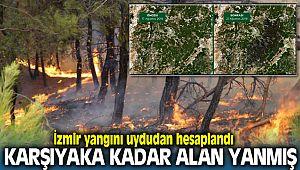 İzmir Yangını Uydudan Hesaplandı; Karşıyaka Kadar Alan yanarak Kül Olmuş