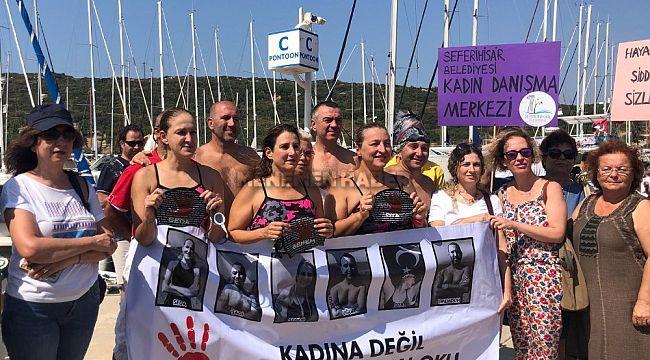 Kadına yönelik şiddete karşı 24 saat yüzdüler