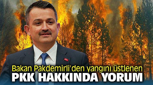 Bakan Pakdemirli'den yangını üstlenen PKK yorumu: