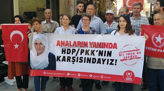 HDP önünde eylem yapan annelere Vatan Partisi Aliağa İlçe Başkanlığı'ndan destek