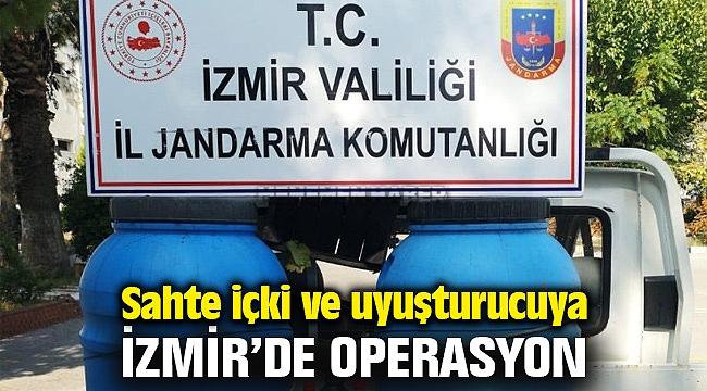 İzmir Bucu'da sahte içki ve uyuşturucu operasyonu