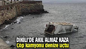 Dikili'de çöp kamyonu denize uçtu: 1 yaralı