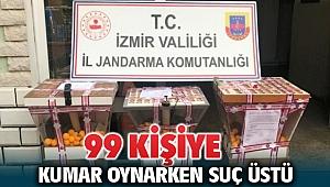 İzmir Bornova'da Jandarma 99 kişiyi kumar oynarken suçüstü yakaladı