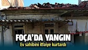 Foça'da müstakil evde yangın çıktı! Ev sahibini itfaiye kurtardı
