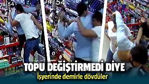 Futbol topunu değiştirmedi diye işyeri sahibini demirle dövdüler video haber