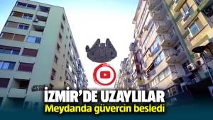 İzmir'de uzaylılar, Saat Kulesi'ndeki güvercinleri besledi
