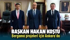 Bergama Belediye Başkanı Hakan Koştu projeler için soluğu Ankara'da aldı