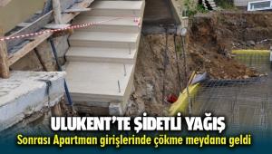 Menemen Ulukent'te sağanak yağış sonrası 2 apartmanın girişinde çökme meydana geldi