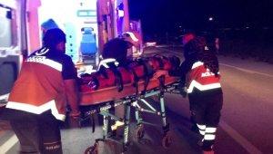 Kamyonet direğe çarptı: 3 yaralı