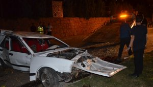 Otomobil önce ağaca sonra direğe çarptı: 2 yaralı