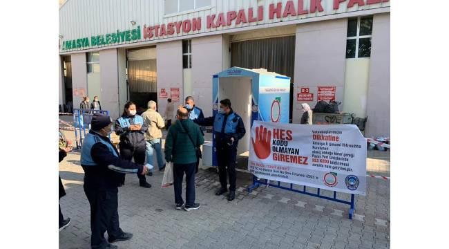Amasya'da pazar yerlerinde HES kodu uygulaması