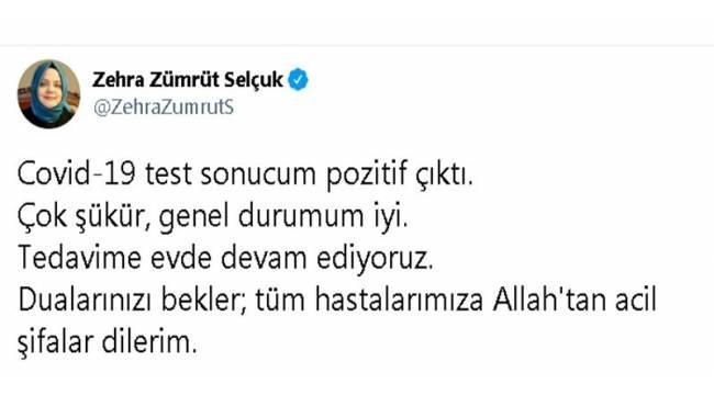 """Bakan Zehra Zümrüt Selçuk: """"Covid-19 test sonucum pozitif çıktı"""""""