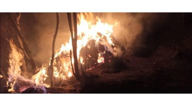 Çatak'ta ot ve ahır yangını