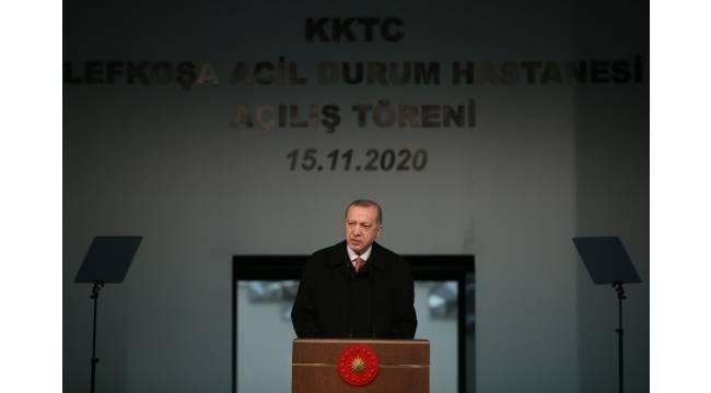 Cumhurbaşkanı Erdoğan, Lefkoşa'daki Acil Durum Hastanesi'nin açılış törenine katıldı