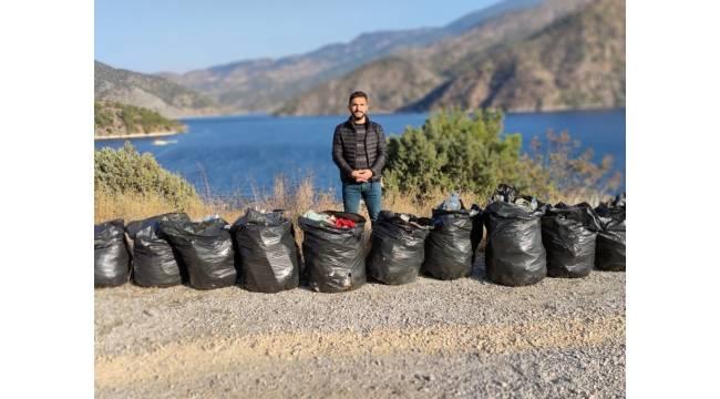 Gençler Obruk barajında çevre temizliği yapıldı