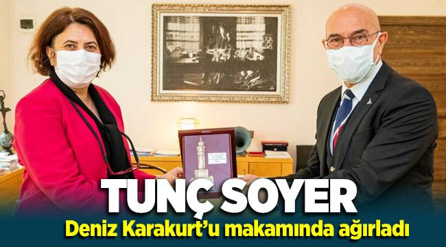 Başkan Tunç Soyer Menemen'in yeni Belediye Başkan Vekili Deniz Karakurt'u ağırladı