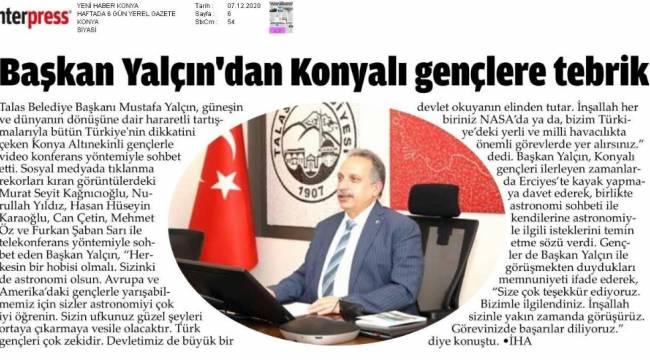 Başkan Yalçın'ın 'Uzay sohbeti' Konya'da da yankı buldu