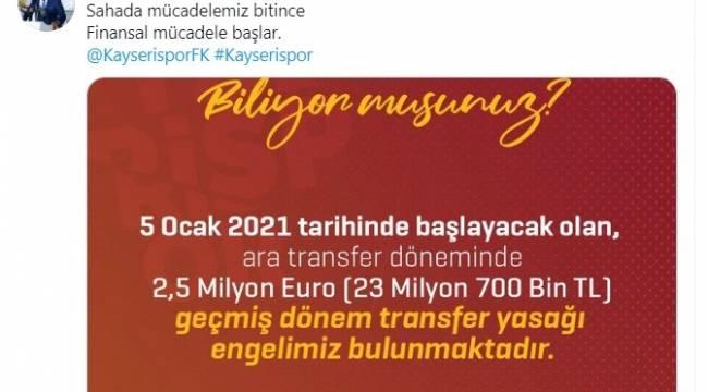 """Tokgöz: """"Kayserispor'un transfer yasağı bulunuyor"""""""