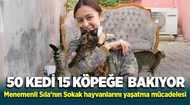 50 kedi ve 15 köpeğe bakan Menemenli Sıla'nın sokak hayvanlarını yaşatma mücadelesi