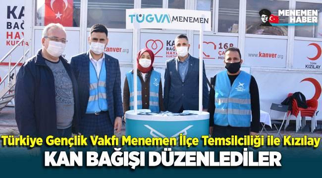 Türkiye Gençlik Vakfı Menemen İlçe Temsilciliği ile Kızılay kan bağışı kampanyası düzenledi.