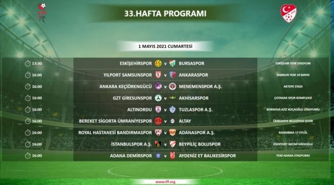 TFF 1. Lig'de 33. hafta programı açıklandı.