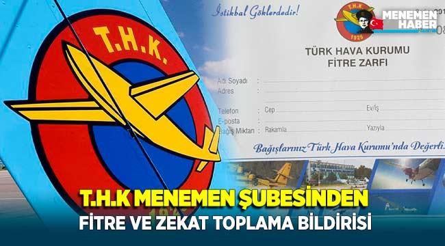 Türk Hava Kurumu Menemen Şubesinden Fitre ve Zekat Toplama Bildirisi